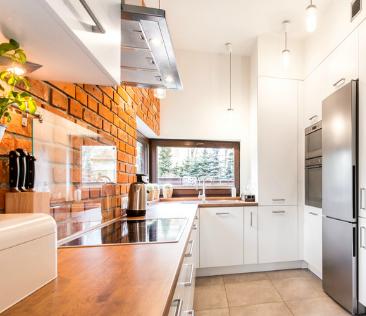 cegła w kuchni - przykładowa aranżacja