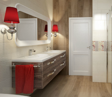 Aranżacja łazienki z płytkami drewnopodobnymi