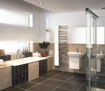 przykład aranżacji z zastosowaniem sufitu podwieszanego w łazienkach
