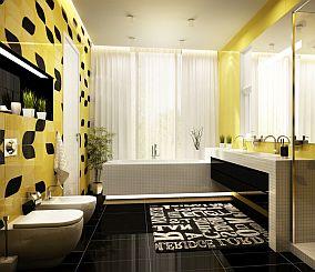 nowoczesna czarno-żółta łazienka