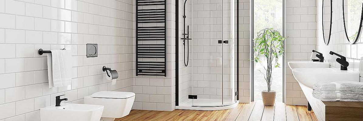 Łazienka z czarną kabina prysznicową