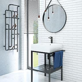 Łazienka industrialna z modną konsolą umywalkową