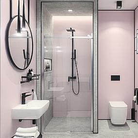 Nowoczesna łazienka z czarną armaturą