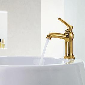 Stylizowane złote i miedziane baterie łazienkowe