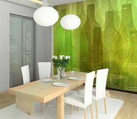 fototapeta w kuchni w zielone butelki