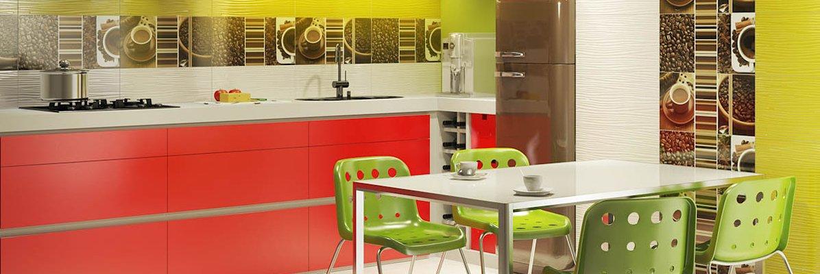Czerwone meble kuchenne świetnie pasują ze stonowanymi płytkami podłogowymi