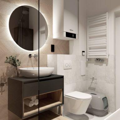 Stylowa łazienka w beżowych odcieniach