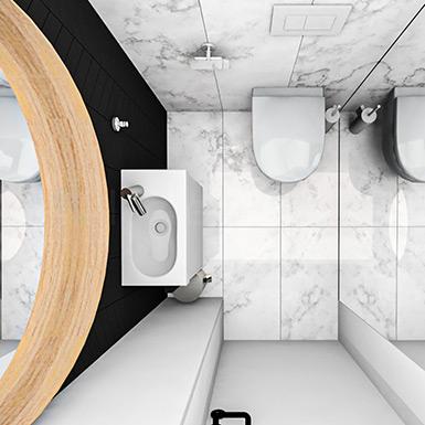 Mała toaleta z przestrzennym lustrem