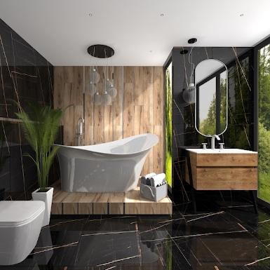 Łazienka z ciemnymi płytkami imitującymi marmur