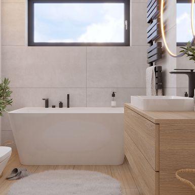 Przytulna łazienka w jasnych barwach