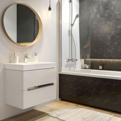 Nowoczesna łazienka z czarnymi płytkami