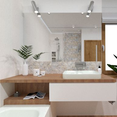 Przytulna łazienka w drewnie z roślinnym akcentem