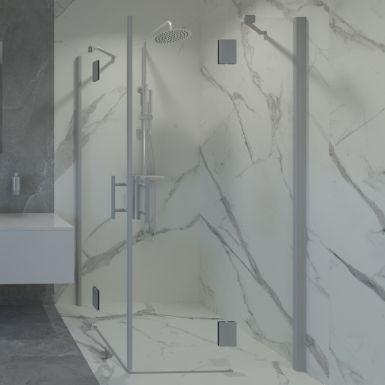 Duża łazienka na poddaszu z mamrumowymi kaflami