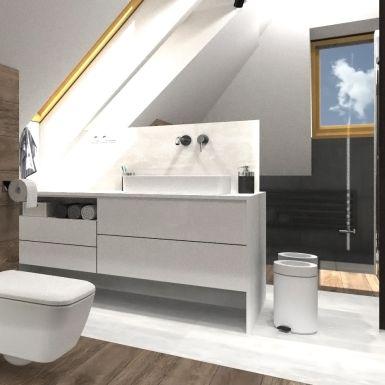 Duża łazienka ze skosem i oknem