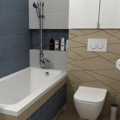 Mała łazienka w bloku w odcieniach szarości