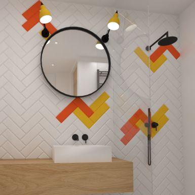 Nowoczesna łazienka z czarną deszczownicą