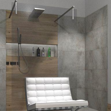 Nowoczesna łazienka z dużym prysznicem typu walk in