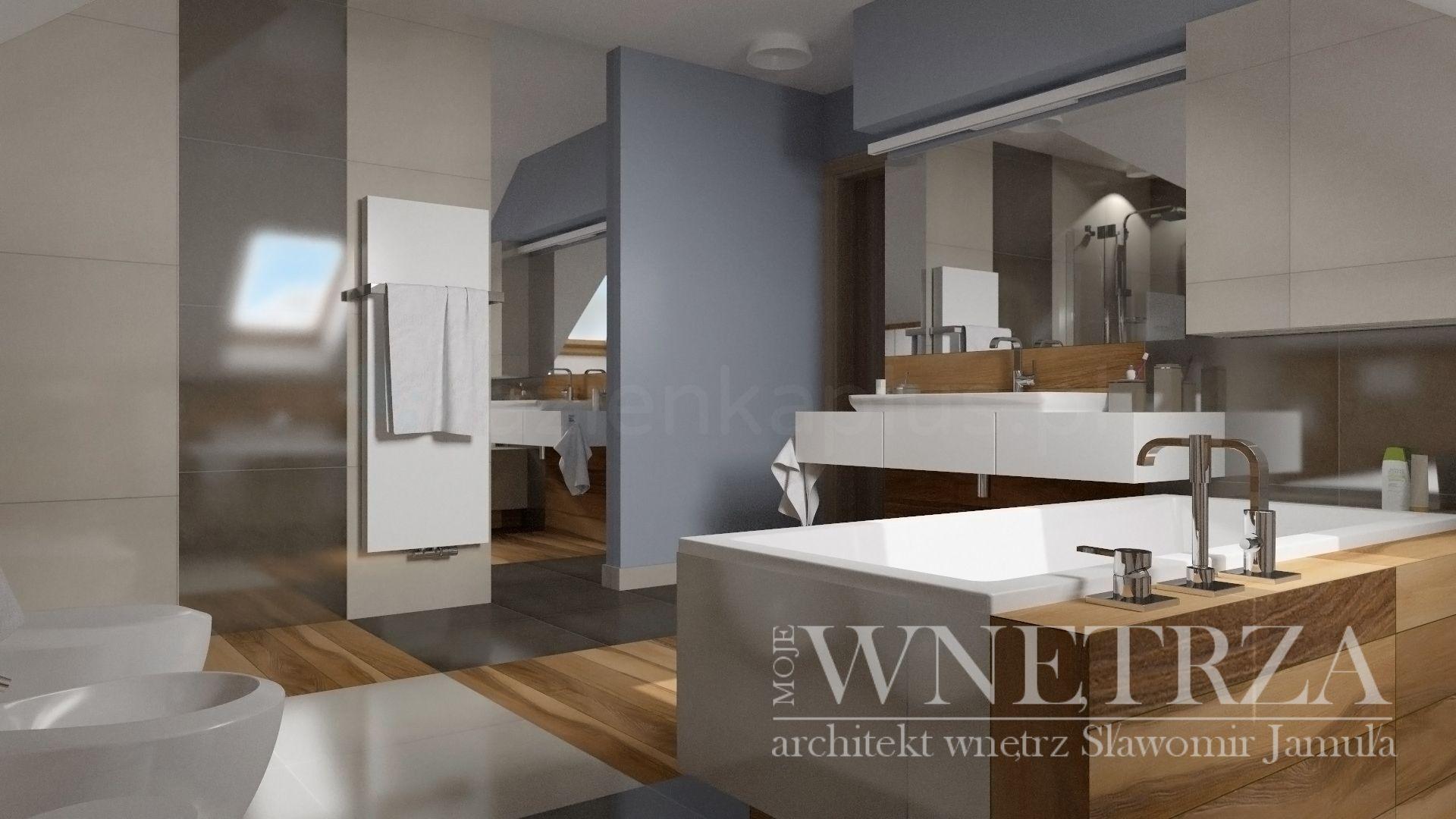 Nowoczesna łazienka z dużym lustrem w odcieniu szarości z elementami drewna