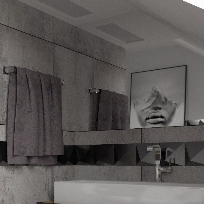 Łazienka ze skosem i prysznicem z odpływem liniowym