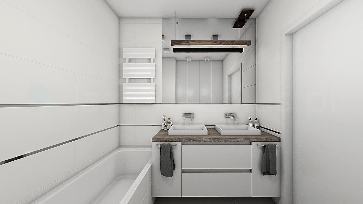 Biała łazienka z drewnem i dwiema umywalkami