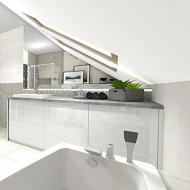 Minimalistyczna łazienka ze skosem