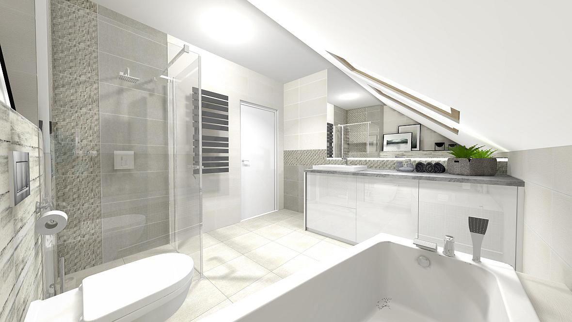 Minimalistyczna łazienka Ze Skosem Kuchnie I łazienki