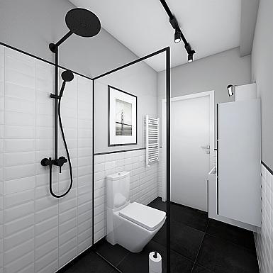 Łazienka ze ścianką prysznicową w czarnej ramie