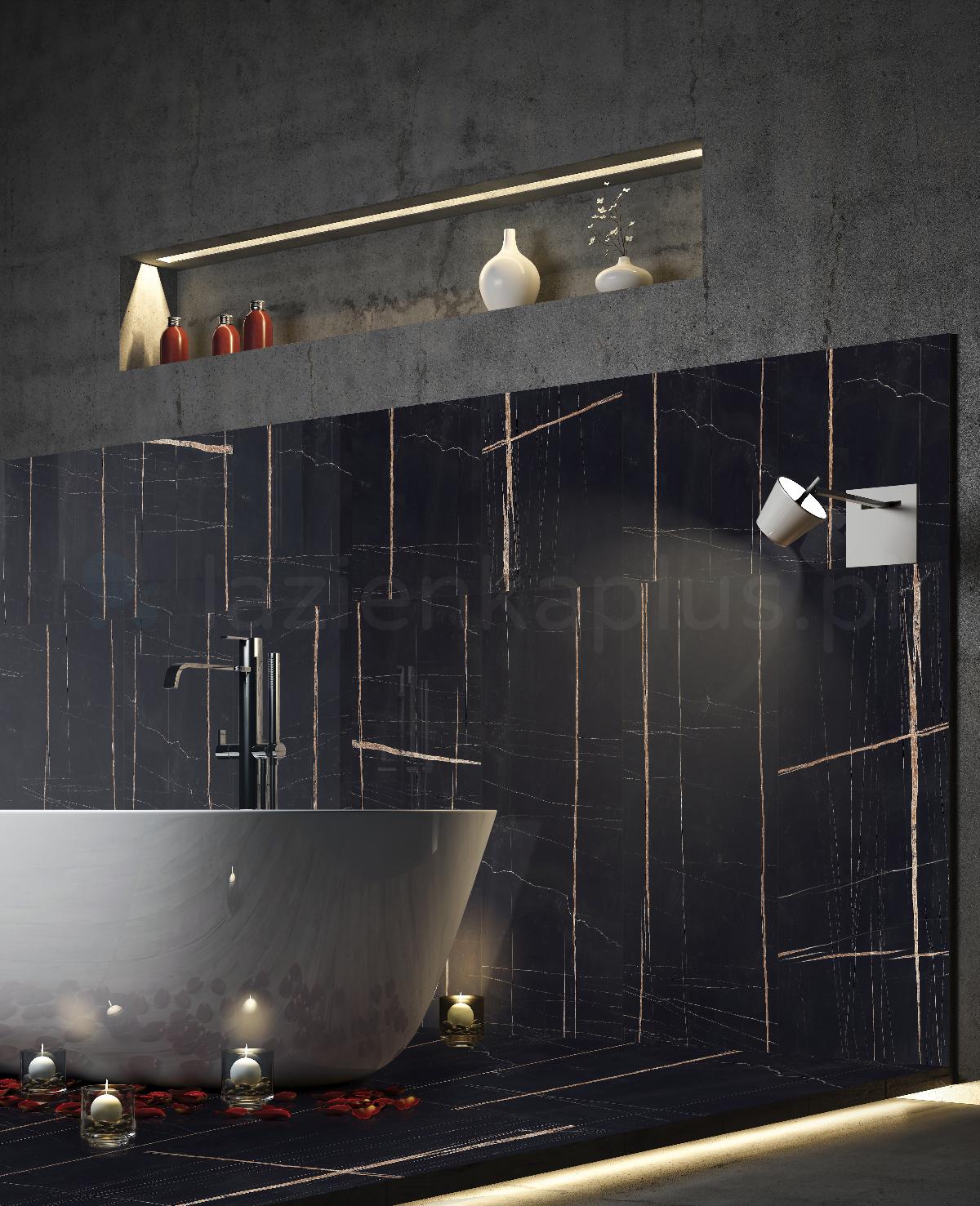 Klasyczna łazienka w czerni i betonie