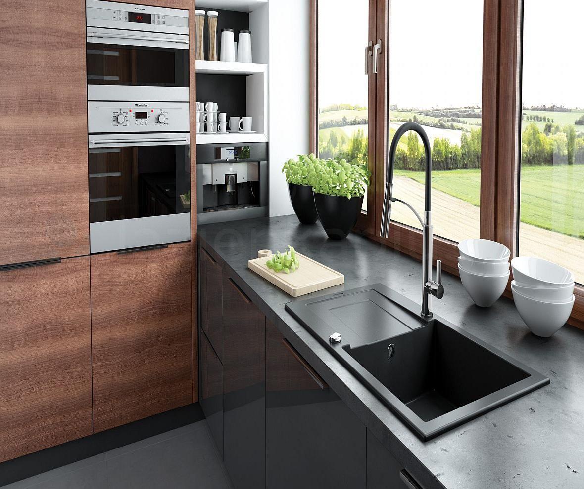Deante Gerbera - kuchnia z drewnianymi meblami i nowoczesną baterią zlewozmywakową