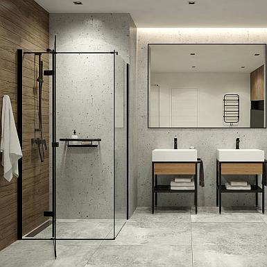 Kabina z czarnym profilem w industrialnej łazience