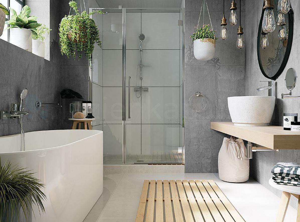 Skandynawska łazienka Z Wanną I Prysznicem Kuchnie I