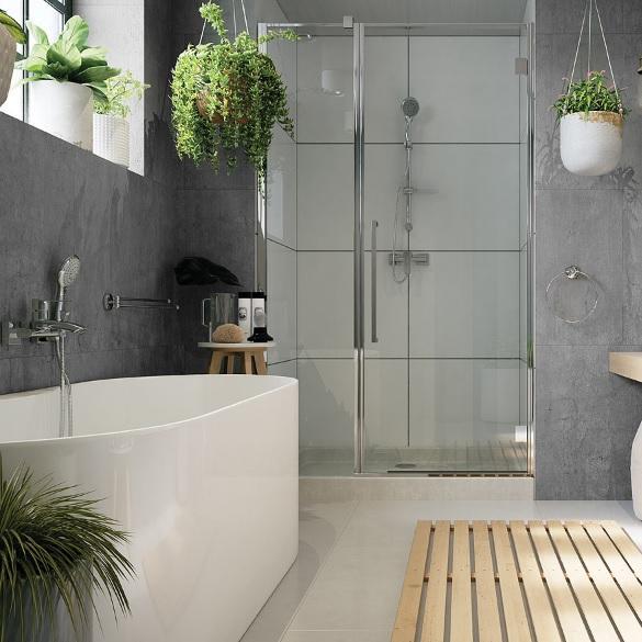 Skandynawska łazienka z wanną i prysznicem