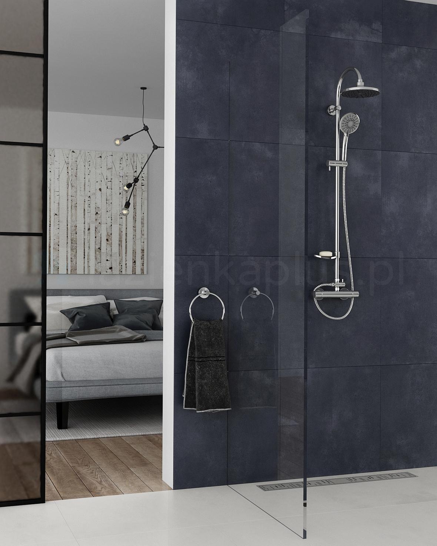 Surowa łazienka z efektownym zestawem prysznicowym Ferro Trinity