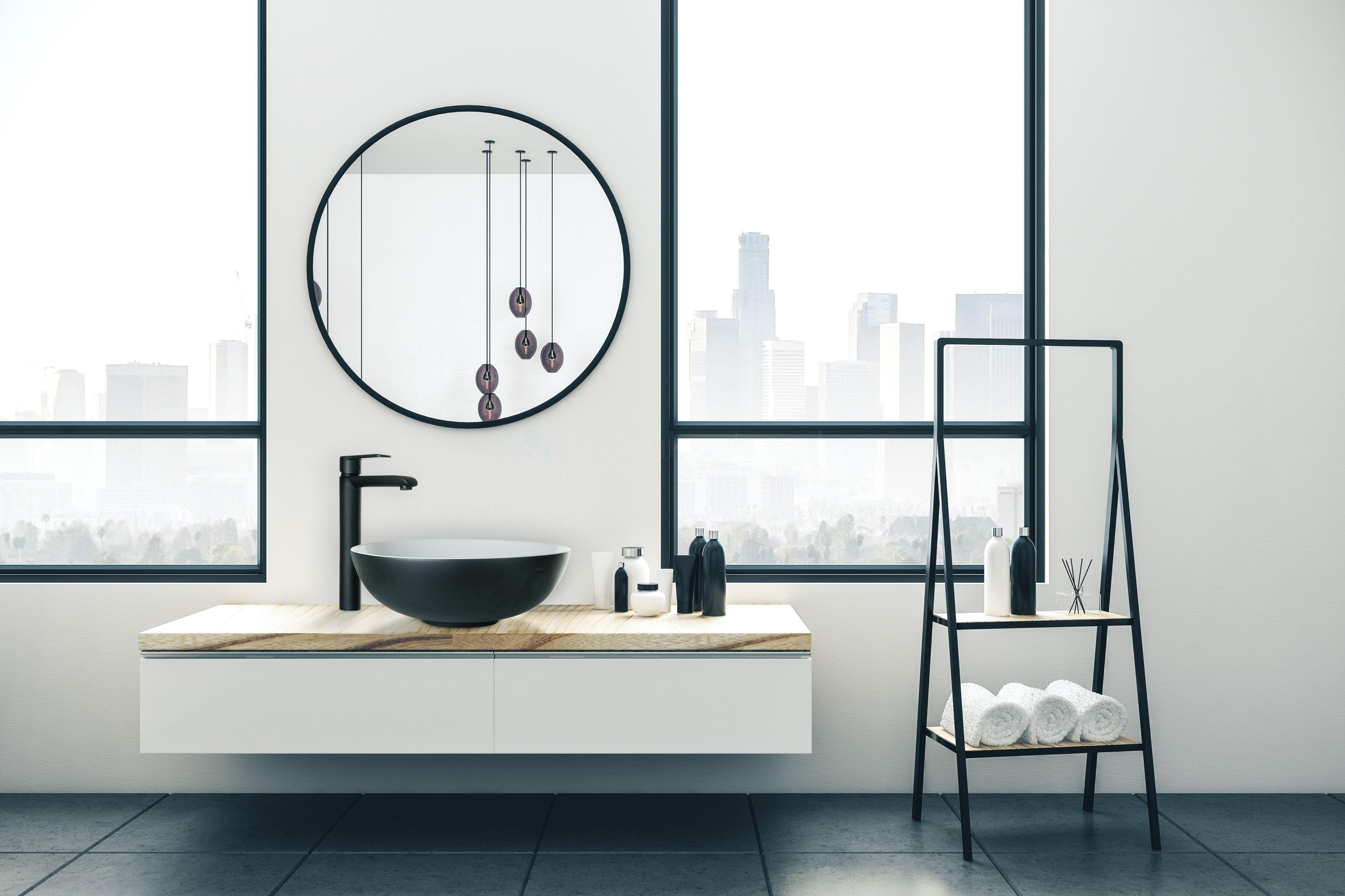Futurystyczna łazienka w apartamentowcu