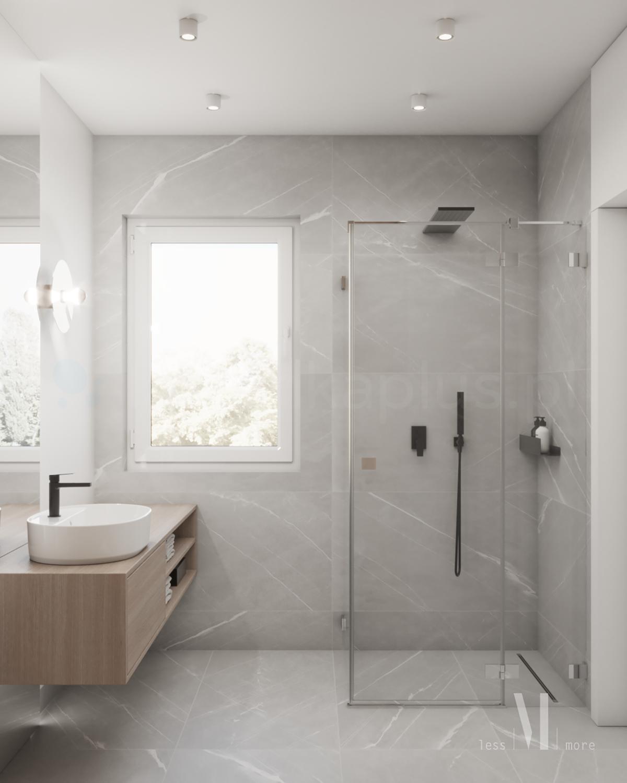 Jasna łazienka z marmurem i drewnem