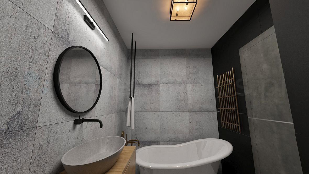 Industrialna łazienka z retro baterią wannowo prysznicową