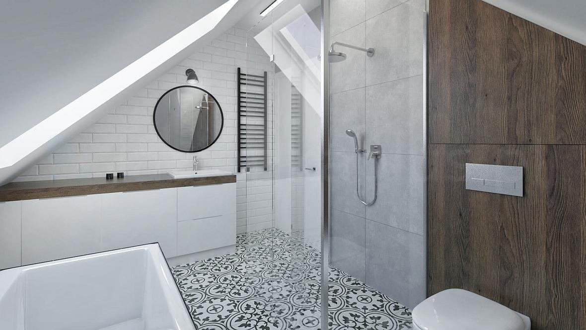 łazienka Na Poddaszu Z Wanną Kuchnie I łazienki