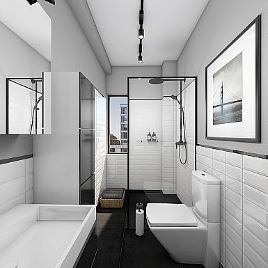 Łazienka z płytkami metro