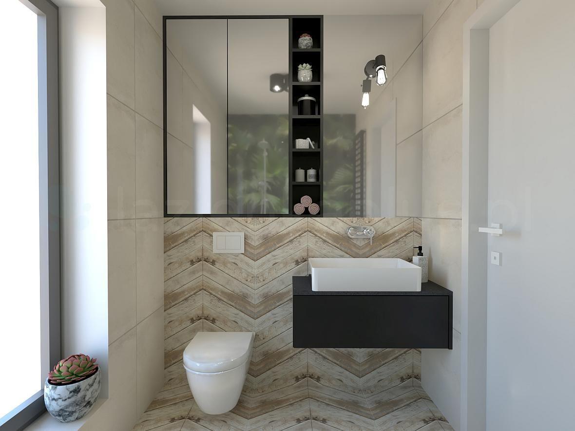 Łazienka z drewnopodobnymi kaflami