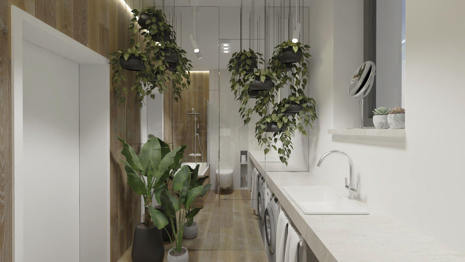 Łazienka z dużą ilością roślin