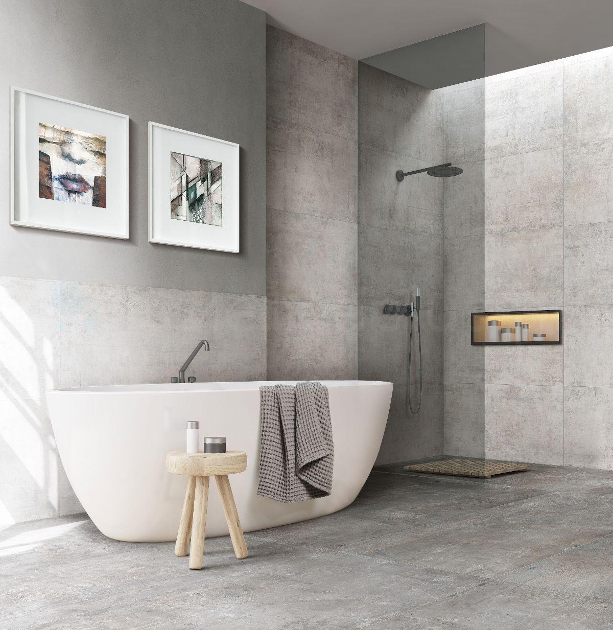 Łazienka z płytkami imitujacymi kamień