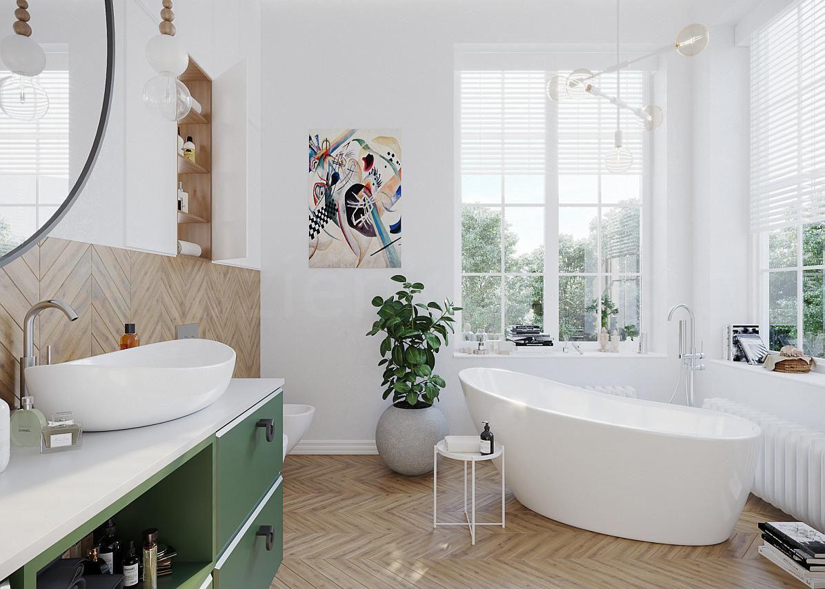 Łazienka z białą wanną wolnostojącą