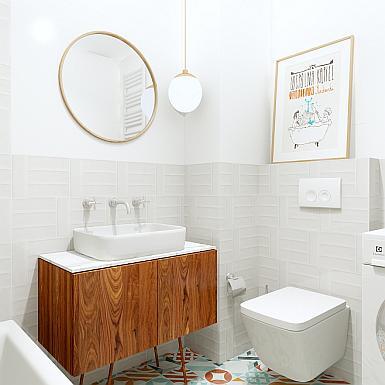 Łazienka z płytkami patchwork