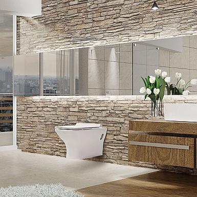 Invena Nyks - nowoczesna łazienka z cegłą