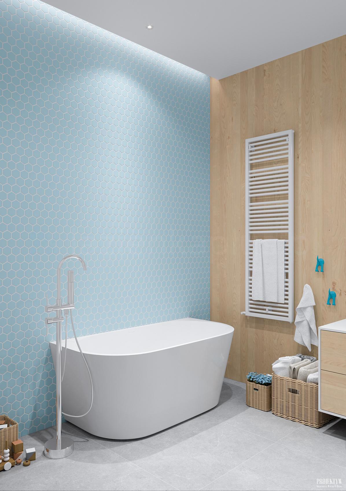 łazienka Z Wanną Wolnostojącą I Efektownymi Płytkami