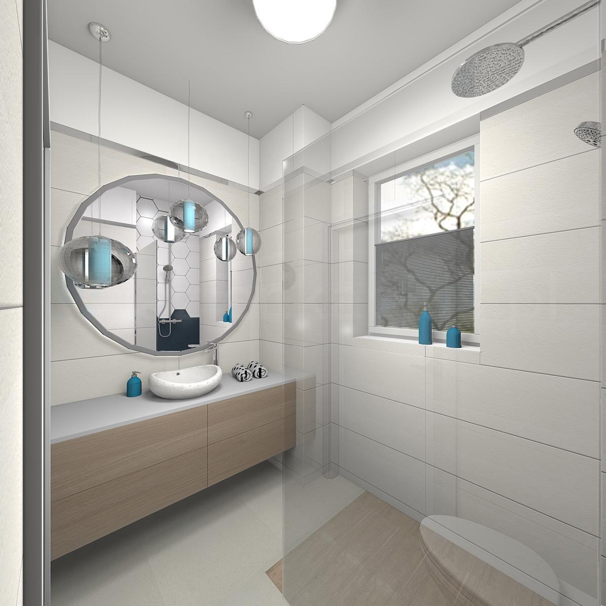Nowoczesna łazienka z błękitnymi akcesoriami