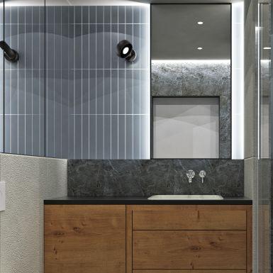 Nowoczesna łazienka z dużym lustrem i prysznicem