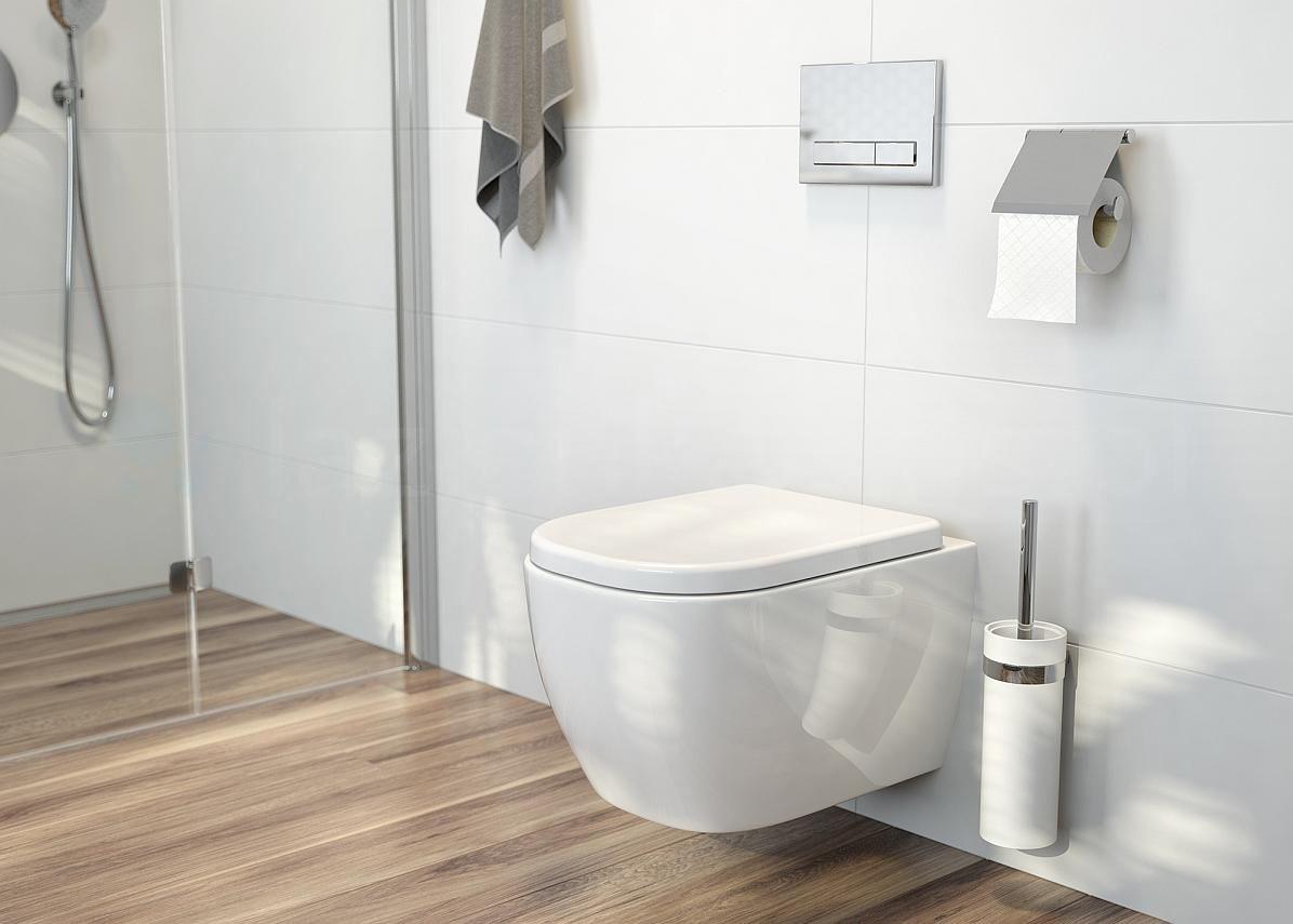 Miska WC bez kołnierza z deską wolnoopadającą w minimalistycznej łazience