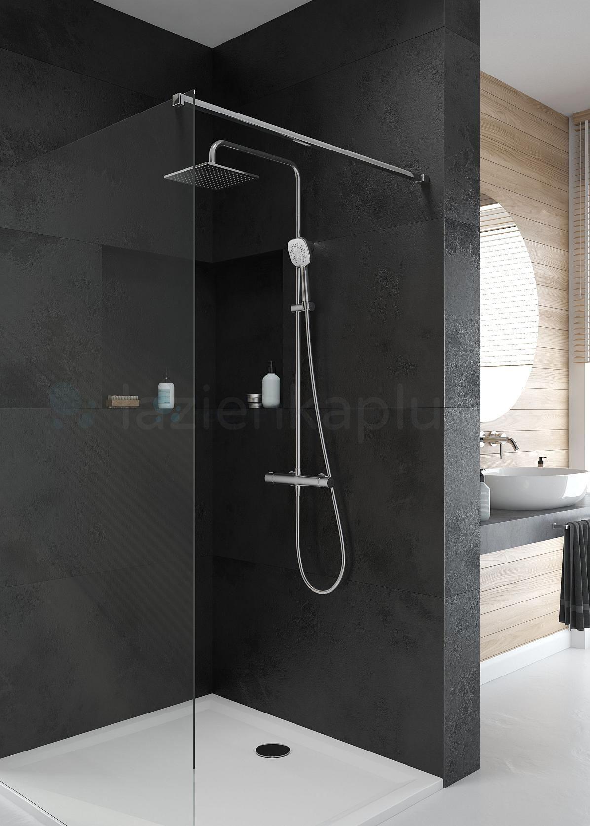 Minimalistyczna łazienka z efektownym zestawem prysznicowym