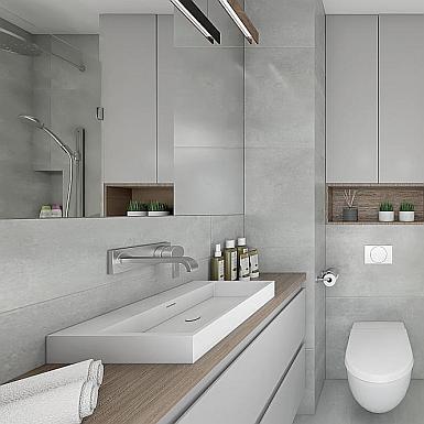 Łazienka szara z elementami drewna